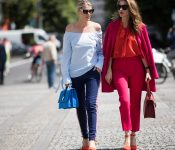 beautiful women walking on street