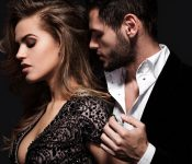 beautiful couple seduce together in romance mood